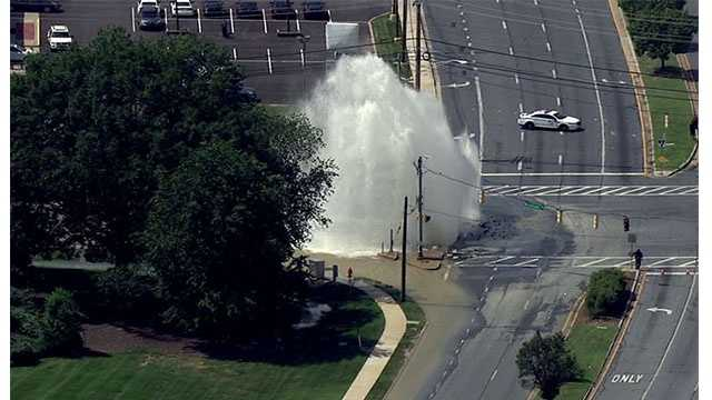 The water main break was reported at Security Boulevard and Woodlawn Drive Friday afternoon.