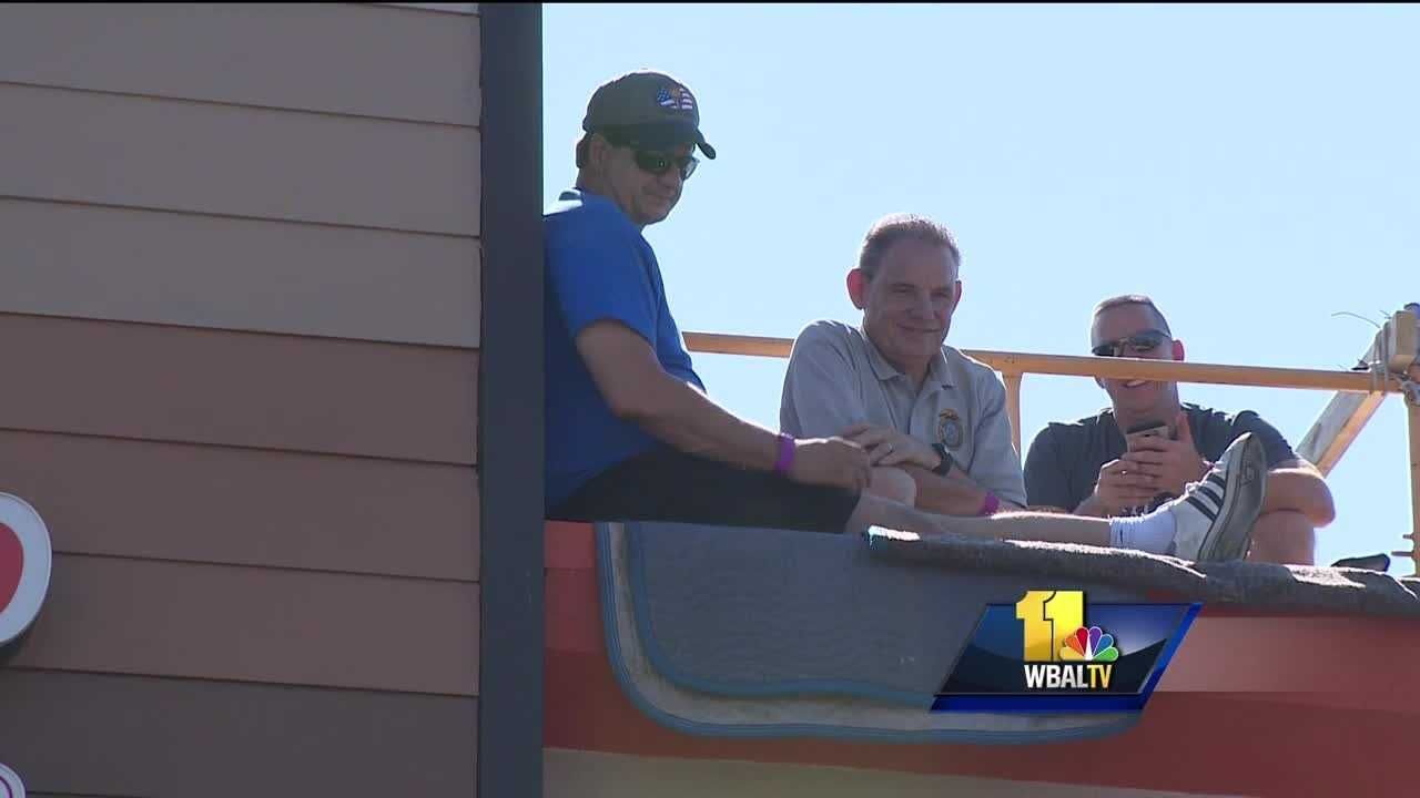 Law enforcement officers in Carroll County spend 30 hours straight on top of the Dunkin Donuts in Westminster with a goal to raise $10,000 for the Special Olympics.