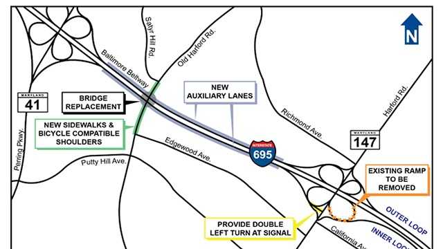 The cloverleaf loop ramp from I-695 east to northbound Harford Road will be closed Thursday night as traffic will be moved onto a widened ramp that will provide access to both directions of Harford Road, the Maryland State Highway Administration said.