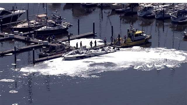 A yacht was destroyed Wednesday in a fire in Kent County.