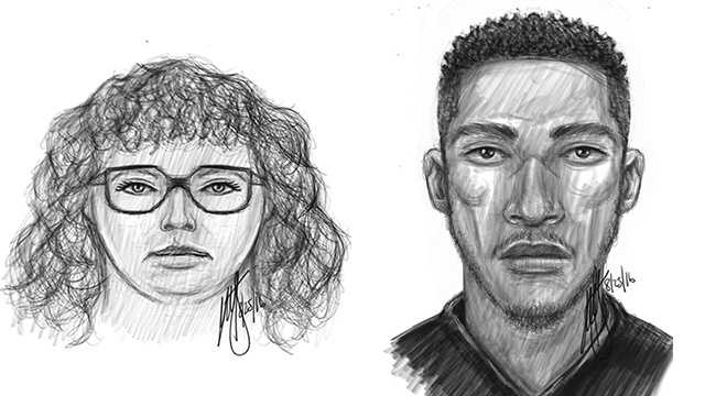 Baltimore police release sketches of two people believed to have been involved in a fatal shooting on May 28 in the 500 block of Broadway.