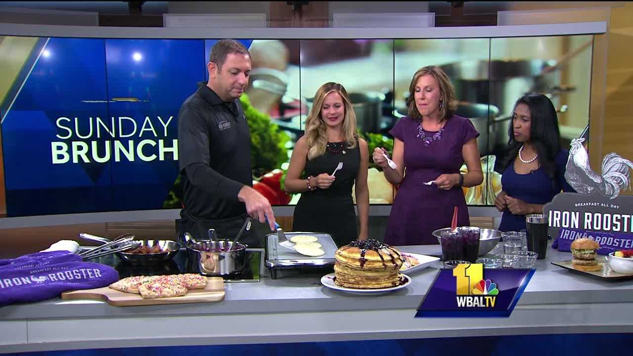 Kyle Algaze from the Iron Rooster serves up purple pancakes just in time for the Ravens season.