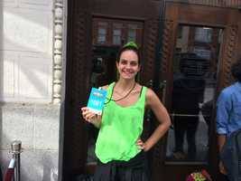 "Stephanie Clark is first in line for ""Hairspray Live!"" audition at the Hippodrome."