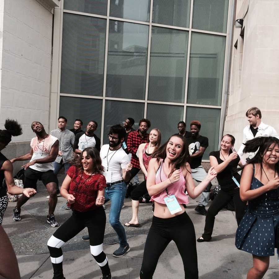 "The hopefuls perform the dance for the ""Hairspray Live!"" audition while waiting to get in."