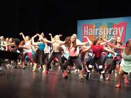 "Dancers go through warm-ups before the real audition for ""Hairspray Live!"""
