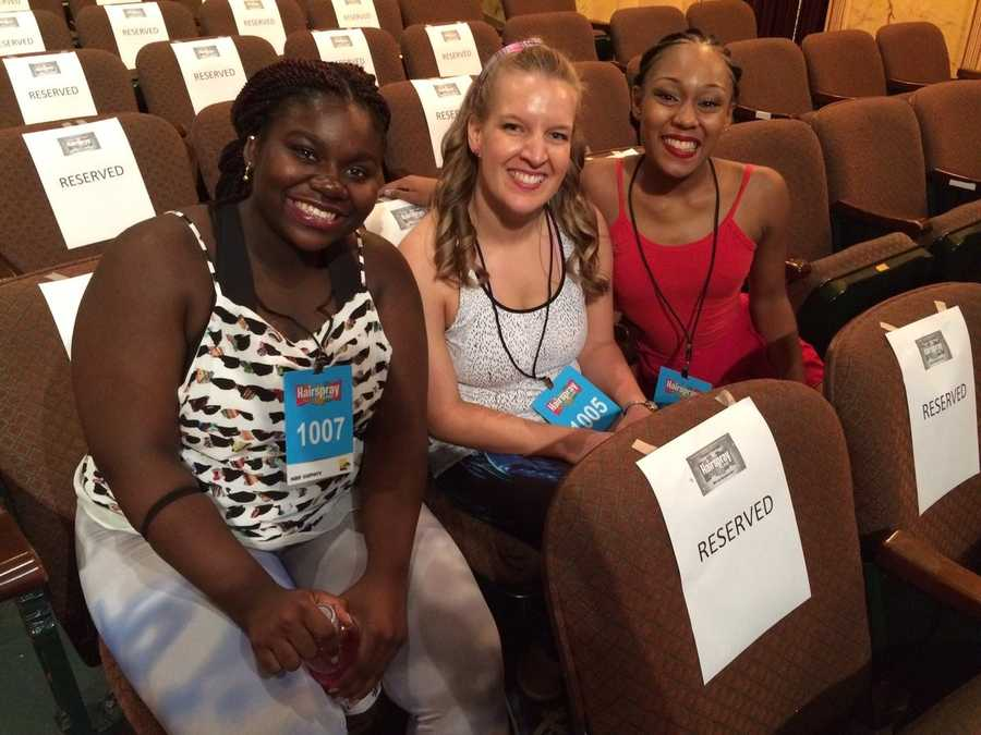 "Jessica August, Amy Horne and Aliyah Caldwell are the first three finalists at the ""Hairspray Live!"" auditions."