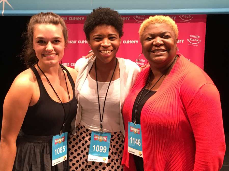 "Dancers Nicole Sliwka, of Manchester, Unissa Cruse-Ferguson and Andrea Robinson, both of Baltimore, compete for spot on ""Hairspray Live!"" The winner will be announced live on Tuesday."