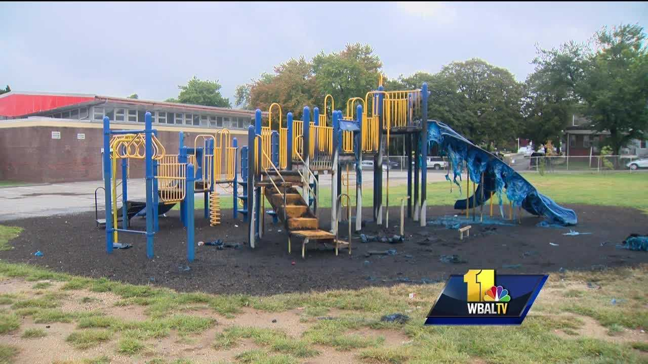 Baltimore police are asking for witnesses to come forward after a playground in west Baltimore was torched over the weekend. The fire broke out at 5 p.m. Saturday just outside Matthew Henson Elementary School.