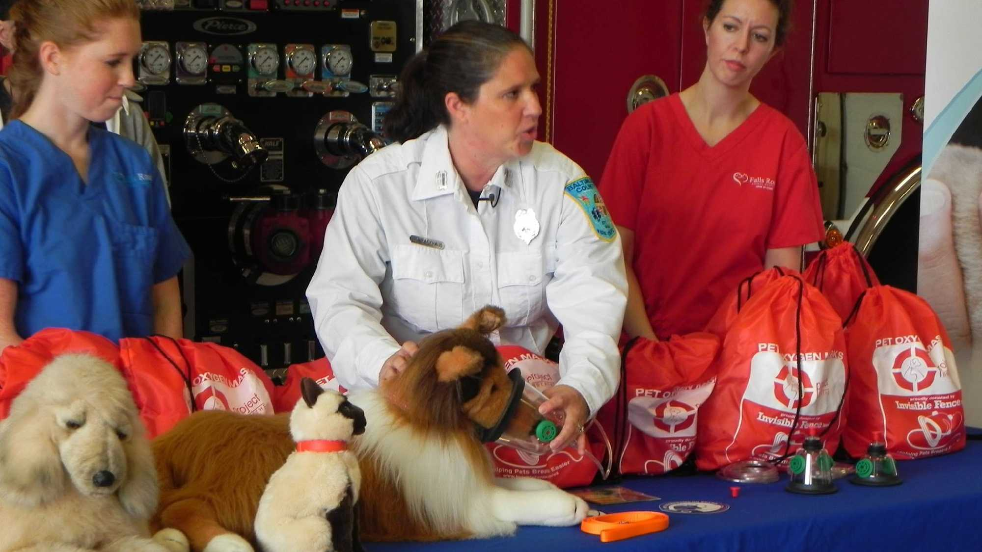 Invisible Fence Brand of Baltimore donated 58 pet oxygen kits to the department during a ceremony Wednesday at the Chestnut Ridge Volunteer Fire Co. in Owings Mills.