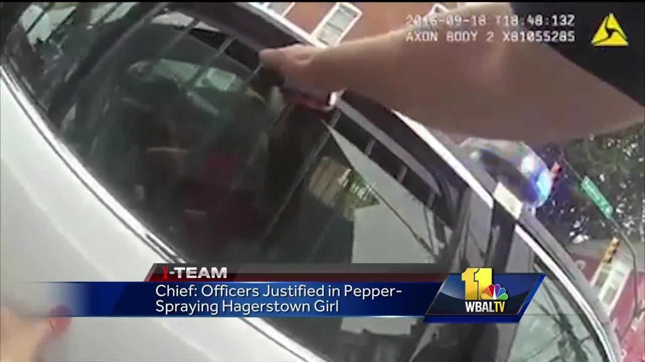 Police video shows a Hagerstown officer pepper-spraying a 15-year-old girl who refused to cooperate with authorities.