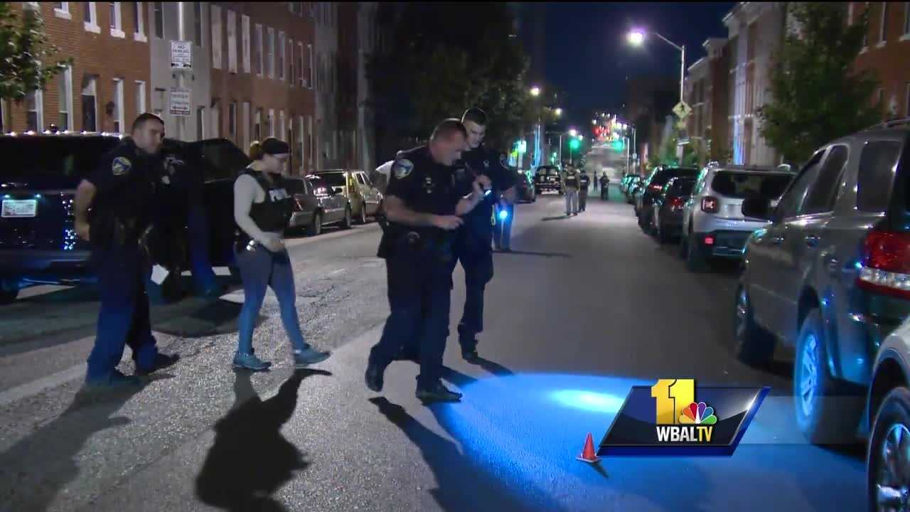 City police continue to search for the gunmen who shot eight people Saturday night in east Baltimore. Police were called around 8:30 p.m. to a location near Greenmount Avenue and Preston Street.