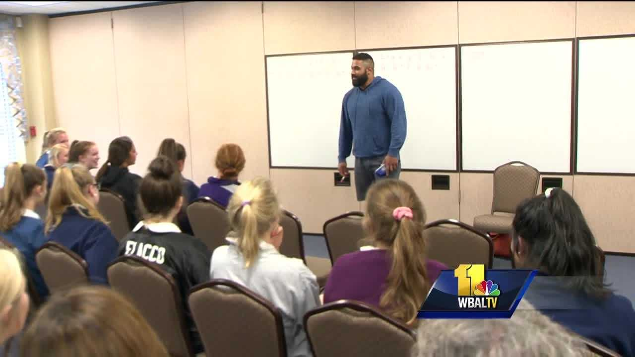 Baltimore Ravens guard John Urschel knows his numbers. He's best known for his plays on the field, but Urschel is also pursuing a doctorate in mathematics. Urschel shared his expertise Monday with senior statistics students at Notre Dame Prep in Towson. He earned his math degree from Penn State in three years, and the next year, he graduated with a master's degree.