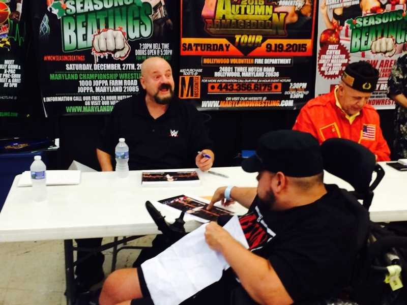 WWE Hall of Fame ring announcer Howard Finkel speaks with fans at the MCW Tribute to the Legends convention in Joppa.