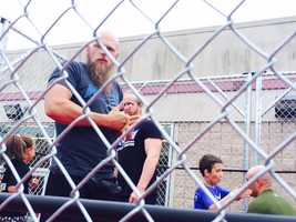 MCW wrestler Ken Dixon stares down fans during a demonstration at the Tribute to Legends convention in Joppa.