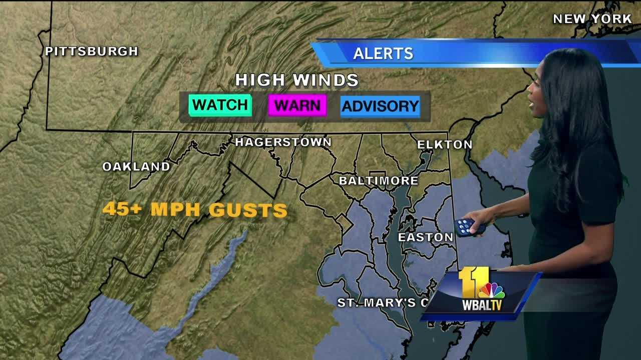 Meteorologist Miri Marshall shows how Sunday will be a windy day in Maryland.