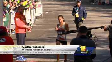 Caitlyn Tateishi wins the 2016 women's Baltimore Marathon.