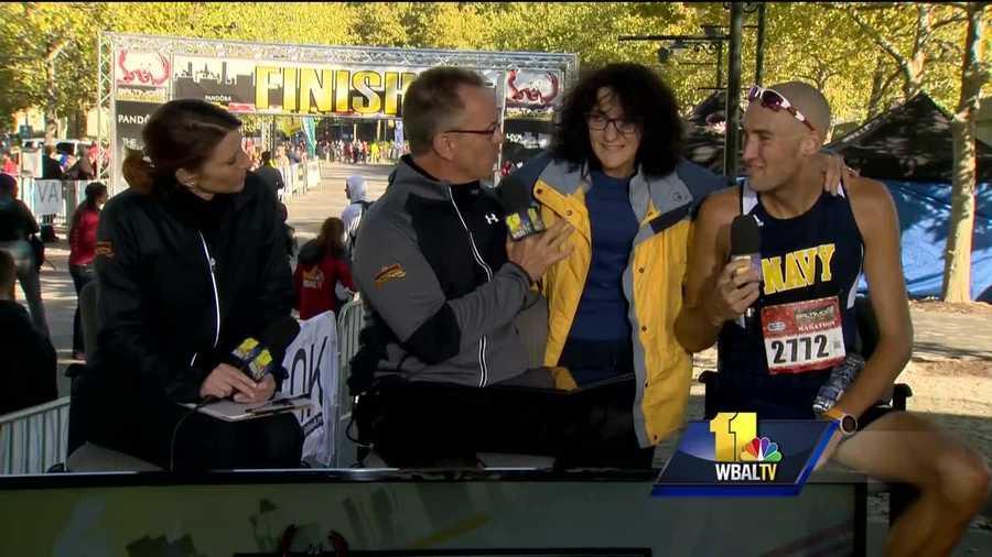 Lt. Patrick Hearn talk with WBAL-TV 11 News after winning the Baltimore Marathon.