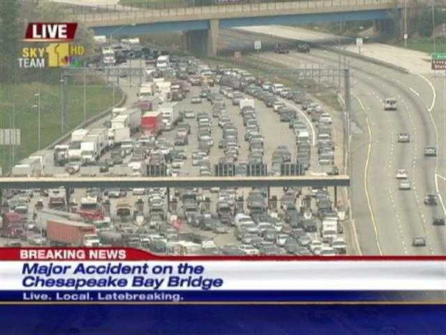 The crash backed up traffic to the toll plaza. | <B>More Sky Team 11 Photos</B>