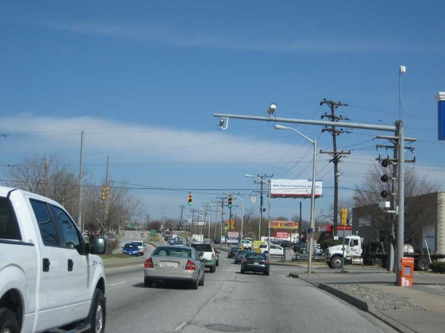 3) 2,510 red-light violations on eastbound Pulaski Highway at North Point Road.