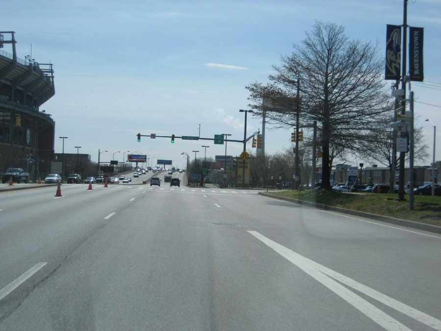 10) 1,445 red-light violations approaching M&T Bank Stadium on southbound Russell Street at Hamburg Street.
