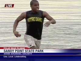 11 News reporter Sheldon Dutes takes his first dip as a Polar Bear Plunger. <b>View More Plunge Pics Here!</b>