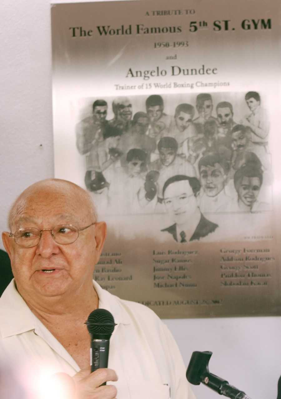 Angelo Dundee was best known for being in Muhammad Ali's corner for almost his entire career, urging him on in his first fight against Sonny Liston through the legendary fights with Joe Frazier. (Aug. 30, 1921 – Feb. 1, 2012)