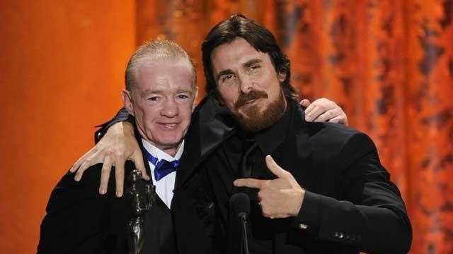 "Dicky Eklund, left, joins Christian Bale on stage as he accept the award for best male actor in a supporting role for ""The Fighter"" at the 17th Annual Screen Actors Guild Awards on Sunday, Jan. 30, 2011 in Los Angeles. Dicky Eklund is the man portrayed by actor Christian Bale in ""The Fighter""."
