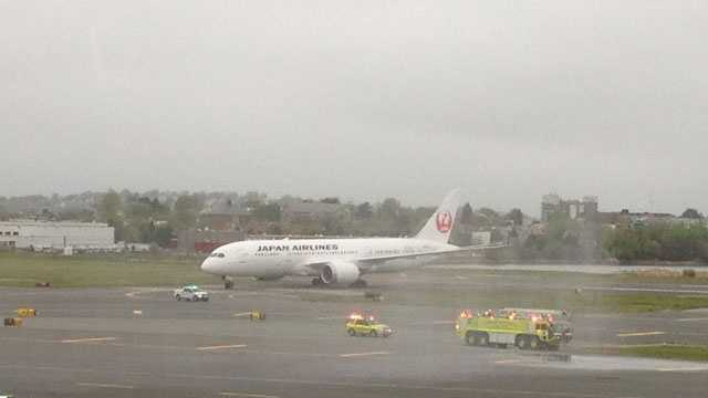 Japan Airlines Flight 008 arrives at Boston's Logan International Airport from its nonstop flight from Narita International Airport.
