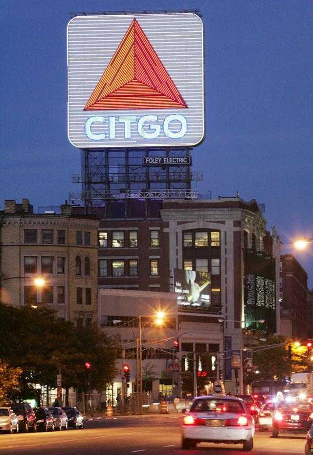 The Citgo sign at night.