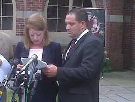 Laura Stone's sister, Debra Sochat, and her husband, David, read a statement from the family.