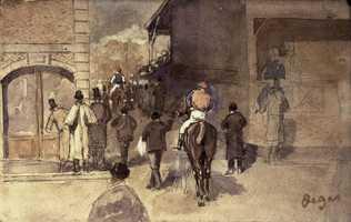 Degas, La Sortie de PesagePencil and watercolor on paper, 10 x 16 cm