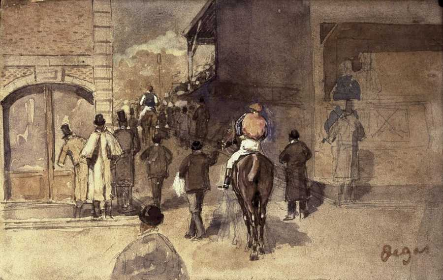 Degas, La Sortie de PesagePencil and watercolor on paper, 10 x 16 cm