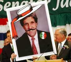 Menino spoofs John Kerry at the St. Patrick's Day breakfast in 2010.