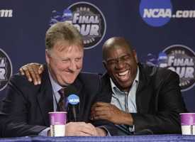 Magic Johnson and Larry Bird share a laugh before the NCAA Final Four college basketball tournament on April 6, 2009.