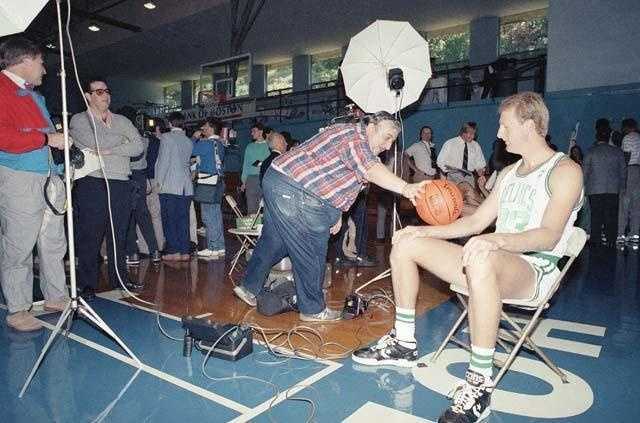 Larry Bird has a bit of fun during a portrait session for media day on Oct. 6, 1989.