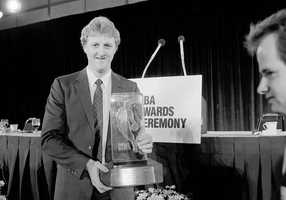 Larry Bird receives the NBA's Most Valuable Player of the Year award on June 23, 1985.