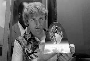 Larry Bird in New York, March 20,1979, after the announcement of his selection as college basketball player of the year.