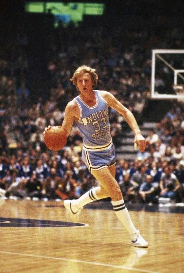 Indiana State player Larry Bird shown in action against the Oklahoma Sooners in the NCAA tournament on March 15, 1979.