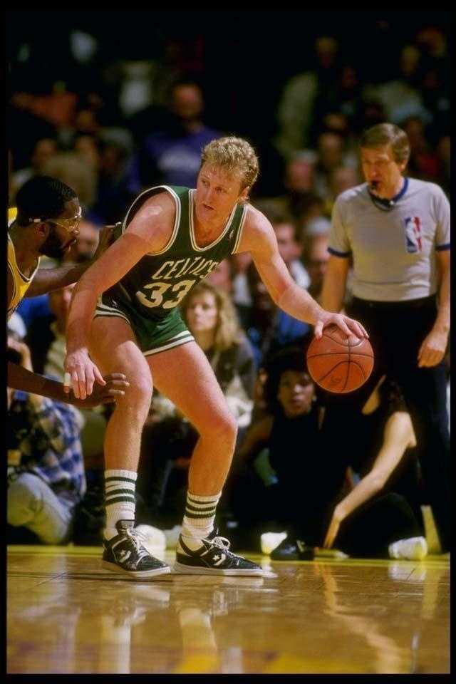 Bird in action versus the Los Angeles Lakers in 1988.