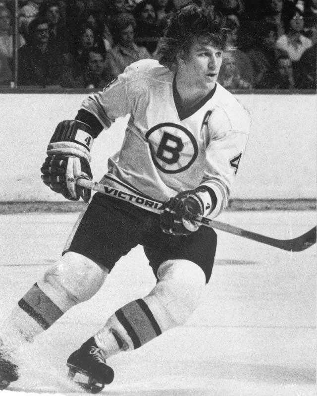 Bobby Orr is seen on the ice during game action at the Boston Garden, Feb. 1975.