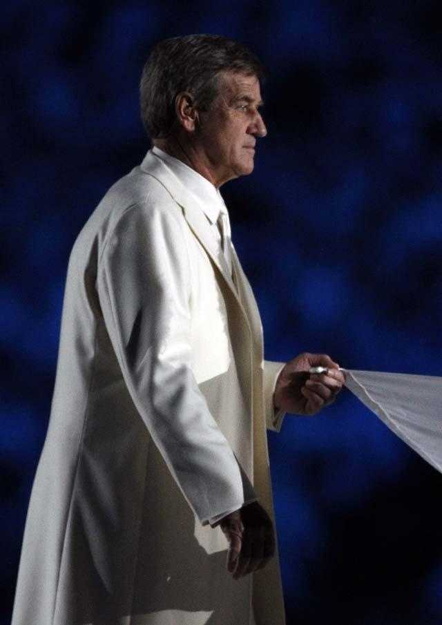 Bobby Orr holds the Olympic flag during the opening ceremony for the Vancouver 2010 Olympics on Feb. 12, 2010.