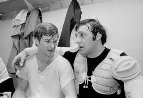 Bobby Orr and Phil Esposito pose after Orr scored two goals to break his own NHL scoring mark in Oakland, Calif., Mar. 11, 1971.