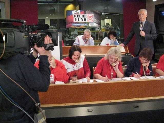 Volunteers take donation calls at a phone bank at WCVB for Relief Fund 5, an all day fundraising effort to help Haiti earthquake victims.