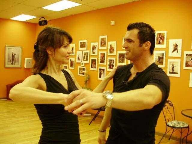 """Here, Liz practices the tango with Tony Dovolani from """"Dancing With the Stars."""""""