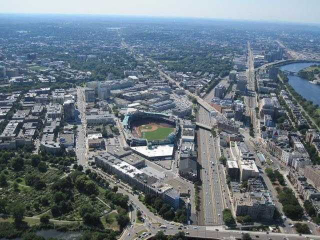 Fenway Park with the Mass. Pike nearby
