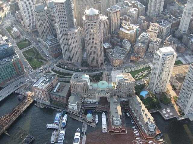 The high-rise buildings around Rowe's Wharf.