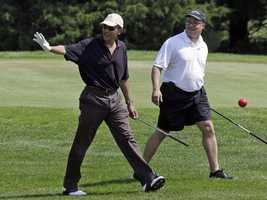 Obama played golf with UBS Investment Bank President Robert Wolf and Chicago physician Eric Whitaker, both friends.