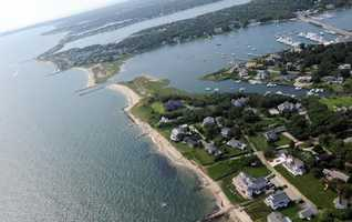 Martha's Vineyard is pictured from a helicopter as Barack Obama and the First family fly to the island.