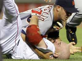 He was involved in a fight with the Red Sox in 2009Kevin Youkilis wrestled with then Detroit Tigers starter Rick Porcello after being hit by a pitch in the second inning of their baseball game at Fenway Park in Boston in August of 2009.