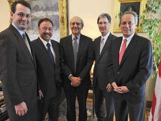 """Supreme Court Justice Stephen Breyer, center, had administered an """"oath of office"""" to Red Sox Nation president Jerry Remy, Feb. 27, 2008"""
